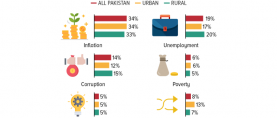 1 in 3 Pakistanis (33%) believe inflation is the most pressing issue facing the country at the moment.