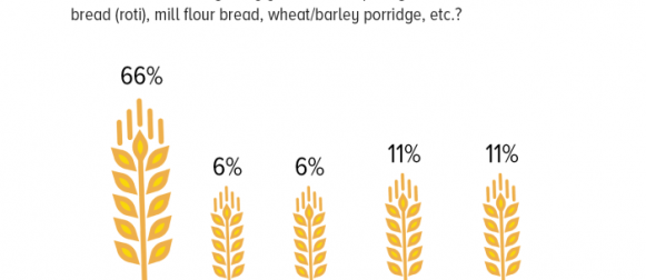 A majority of Pakistanis (66%) have pure grains, such as Roti/Rice, every day.