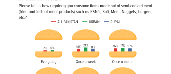 Nearly 1 in 3 Pakistanis (32%) claim they have semi-cooked meat products such as K&N's, Sufi, Menu Nuggets and burgers at least once a month; however, 29% urban respondents have not used such products ever.