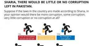 Sharia solution to Corruption: A significant majority (66%) of Pakistanis believe that if the laws in the country are made according to Sharia, there would be no or very little corruption left in Pakistan.