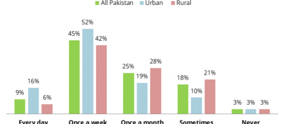 Nearly half Pakistanis (45%) consume fresh meat, such as chicken, lamb and fish, once a week; however, significant urban/rural and income differentials exist.