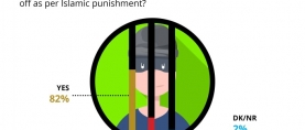 A significant 4 in 5 (82%) Pakistanis believe that the hands of a thief should be cut off as per Islamic punishment